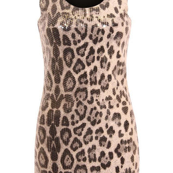 Tiana Sequin Leopard Tank Dress in Grey