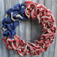 "16"" American Flag Inspired Burlap Wreath- Americana Primitive Decor Shabby Chic"