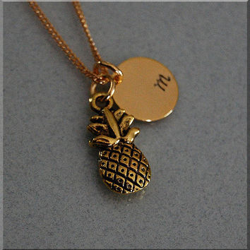 Personalized Pineapple Necklace, Fruit Necklace, Hospitality Jewelry, Initial charm necklace, Pineapple Charm, monogram necklace
