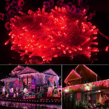 20M 200LED Bulbs Christmas Fairy Party String Lights Waterproof Red 110V US