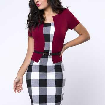 Casual Color Block Plaid Office Elegant Bodycon Dress