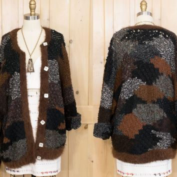 Oversize Chunky Knit Sweater Vintage Patchwork Knit Handmade Winter Wool Cardigan Sweater Size L