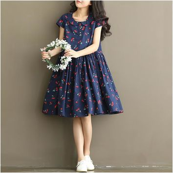 2017 Korean Style Maternity Summer New Fashion Cherry Pregnant Women Dress for Pregnancy Clothes M1MO09