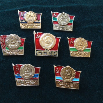 Set of 7 Soviet vintage republics USSR communist pin ussr collectibles collector