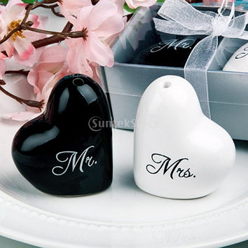 Wedding Heart Ceramic Mr. and Mrs. Salt Pepper Shakers Canister Set Wedding Party Favors (Color: Black & White) = 1932533188