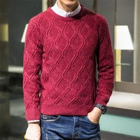 2017 Spring Cotton Thin Men's Round Neck Computer Kitted Pullovers Korean Version Lattice Solid Color Regular Casual Sweater