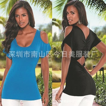 Hot Popular 2016 Trending Fashion Women Off Shoulder Short Sleeve Top _ 7289