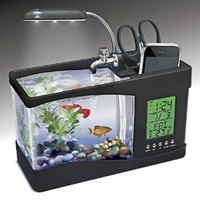 USB Desktop Aquarium - Mini Fish Tank with Running Water