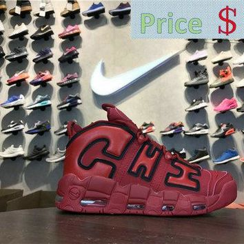 2018 How To Buy Nike Air More Uptempo CHI QS CHICAGO aj3138 600 university red sneaker