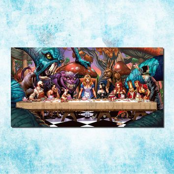 Alice in Wonderland Movie Art Silk Canvas Poster Print 20x40 24x48 Cheshire Cat Wall Pictures For Living Room Decor (more)-3