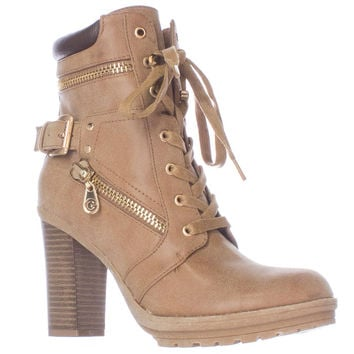 G by GUESS Gogi Heeled Lug Sole Lace-Up Boots - Dark Natural