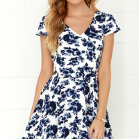 Art of Romancing Ivory and Navy Blue Floral Print Skater Dress