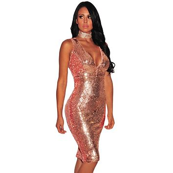 Chicloth Rose Gold Liquid Sequins Cutout Back Club Dress