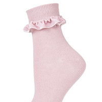 Velvet Trim Ankle Socks - Rose