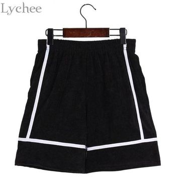 DCCKKFQ Lychee Harajuku Punk Summer Shorts Stripe Pocket Corduroy Casual Loose High Waist Shorts
