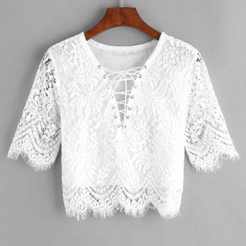 Sexy Lace White Blouse 2017 Women Fashion New V neck Hollow Out Tank Tops Short Sleeve Bandage Eyelet Lace Up blusa