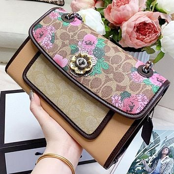 COACH New fashion floral leather chain shopping leisure shoulder bag crossbody bag