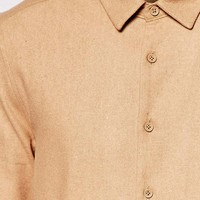 ASOS Shirt In Camel Wool Mix