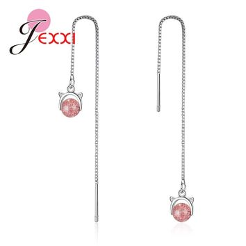JEXXI Trendy Long Thread Genuine 925 Sterling Silver Cute Animals Design With Pink Crystals Women Female Elegance Earrings