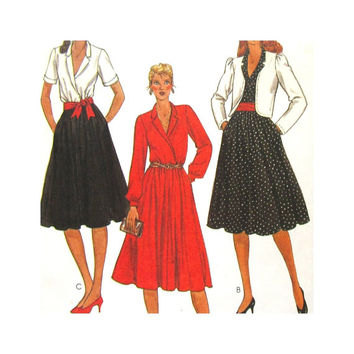 Uncut Vintage Pattern McCalls 7891 Misses Jacket and Pullover Dress Flared Skirt Size 12 Made For You Pattern 1980s Pattern