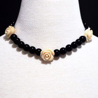 Black Pearls With Flower Ascent  Necklace