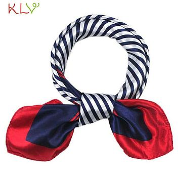 KLV Coolbeener Hot Satin Silk Square Scarf Women Fashion Joker Four Seasons Silk Satin Scarves Dec6