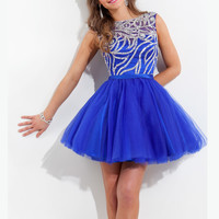 Bateau Neckline Beaded Homecoming Dress Rachel Allan 6670