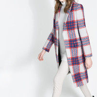 CHECKED COAT - Coats - Woman | ZARA United States