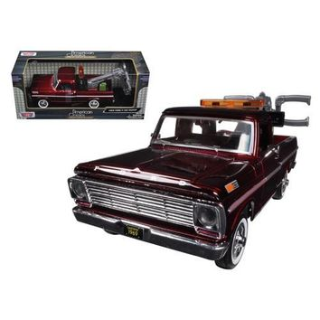 1969 Ford F-100 Tow Truck Burgundy 1/24 Diecast Model by Motormax