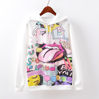 Women's Fashion Music Print Hoodies Casual Fleece Hats [9067782660]