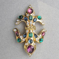 Michaela Von Habsbury MVH Heraldic Cross Gold Tone Jeweled Vintage Slide Enhancer Rhinestone Pendant