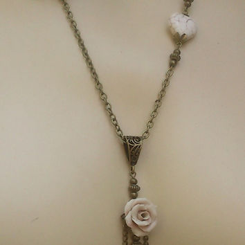 Polymer clay flower jewelry set  - Handmade necklace and earrings
