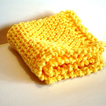 Hand Knit Dishcloth Bright Sunny Yellow FaceCloth or Washcloth Cotton 100 per cent Cotton Yarn Spring Cleaning Cheery Handknit