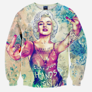 Thuggin Monroe All Over Print Marilyn Monroe Painting Crew Neck Sweatshirt