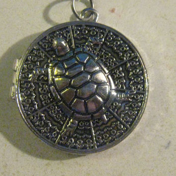 Turtle Locket Silver Tone Pendant Necklace