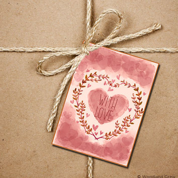 9 Watercolor Heart Gift Tags, With Love Tags, Valentine's Day 2.5 x 3.5 Hang Tag, Pink and Cream Product Tag With Jute Twine, Love Greeting
