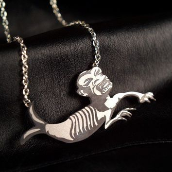 Fiji Mermaid Circus Sideshow Freak necklace in by FableAndFury