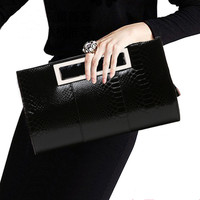 Crocodile Clutch Purse Luxury Party Evening Bag Patent Leather Bride Wedding Shoulder Bag for Women Chain Messenger Bag Clutches