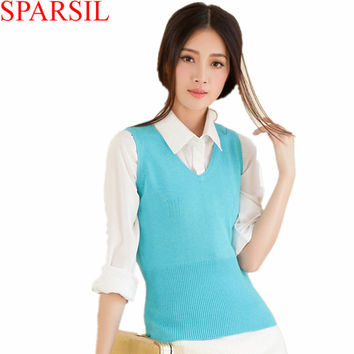 Sparsil Women's Autumn&Spring V-Neck Sleeveless Cashmere Blend Knitted Vest Sweater Fashion Lady Knitwear Jumper