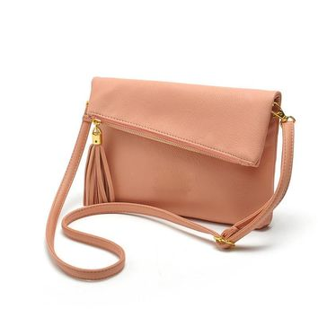 Women Patent Leather Cross Body Fold Over Bag With Tassel Charm
