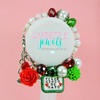 Feliz Cinco de mayo mexican pride themed red white and green bracelet with polymer clay charm