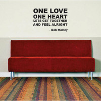 One Love BOB MARLEY Quote Decal Sticker Wall Vinyl jamaica rasta reggae
