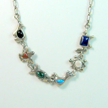 Carolyn Pollack Carlisle Collection Sterling Gemstone Fetish Necklace Native American Silver Turquoise Lapis Onyx MOP Coral Malachite