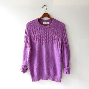 Vintage Peruvian sweater. shaggy purple sweater. Alpaca cable knit pullover. bohemian hippie wool sweater.