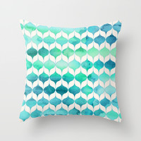 Ocean Rhythms and Mermaid's Tails Throw Pillow by Micklyn