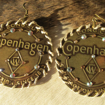 Copenhagen snuff lid earrings hand made with by SpursandStripes