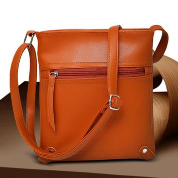 Vintage Simple Women Faux Leather Travel Daily Cross Body Shoulder Messenger Red Brown Bag Borsa Crossbody Party Bisiness