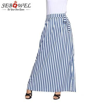 SEBOWEL Summer Women Long Skirt Chic Colorblock Striped Maxi Skirts New Female High Waist Tie Big Hem Vintage Skirt