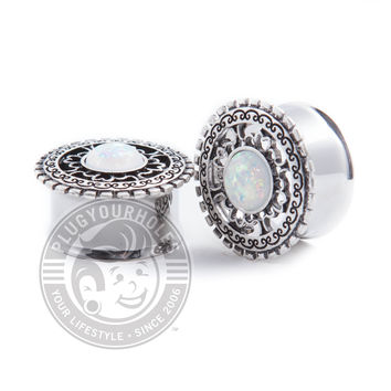Tribal Shield with Opal Center Double Flared Steel Plugs