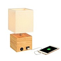 HOMPEN Grace Bedside Lamp with USB Charging Port, Wooden Table Lamp for Living Room, Bedroom, Office, Guestroom